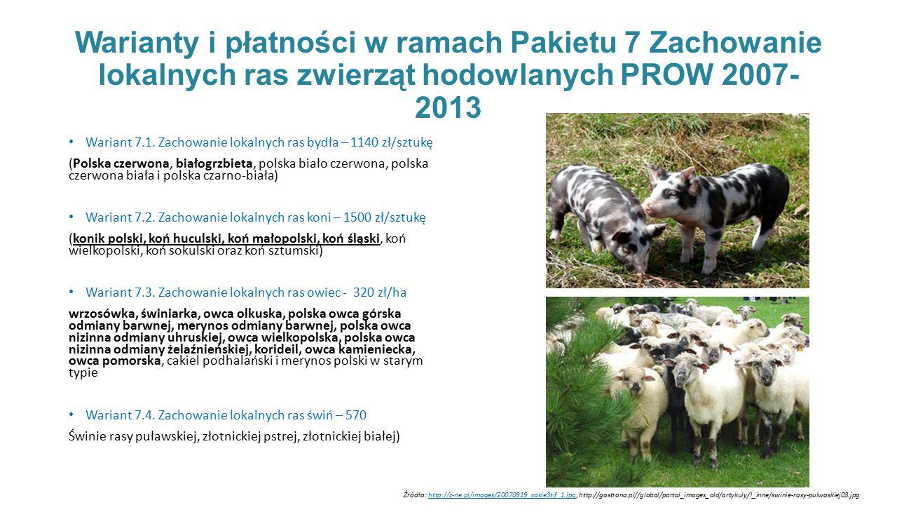 Warianty i płatności w ramach Pakietu 7 Zachowanie lokalnych ras zwierząt hodowlanych PROW 2007- 2013 Wariant 7.1.