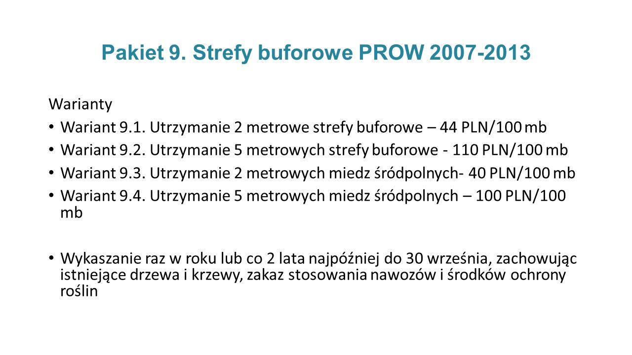 Pakiet 9.Strefy buforowe PROW 2007-2013 Warianty Wariant 9.1.