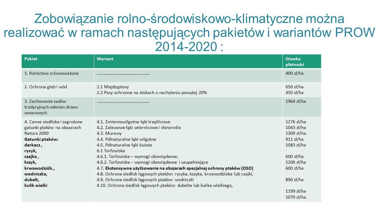 Zobowiązanie rolno-środowiskowo-klimatyczne można realizować w ramach następujących pakietów i wariantów PROW 2014-2020 : PakietWariantStawka płatności 1.