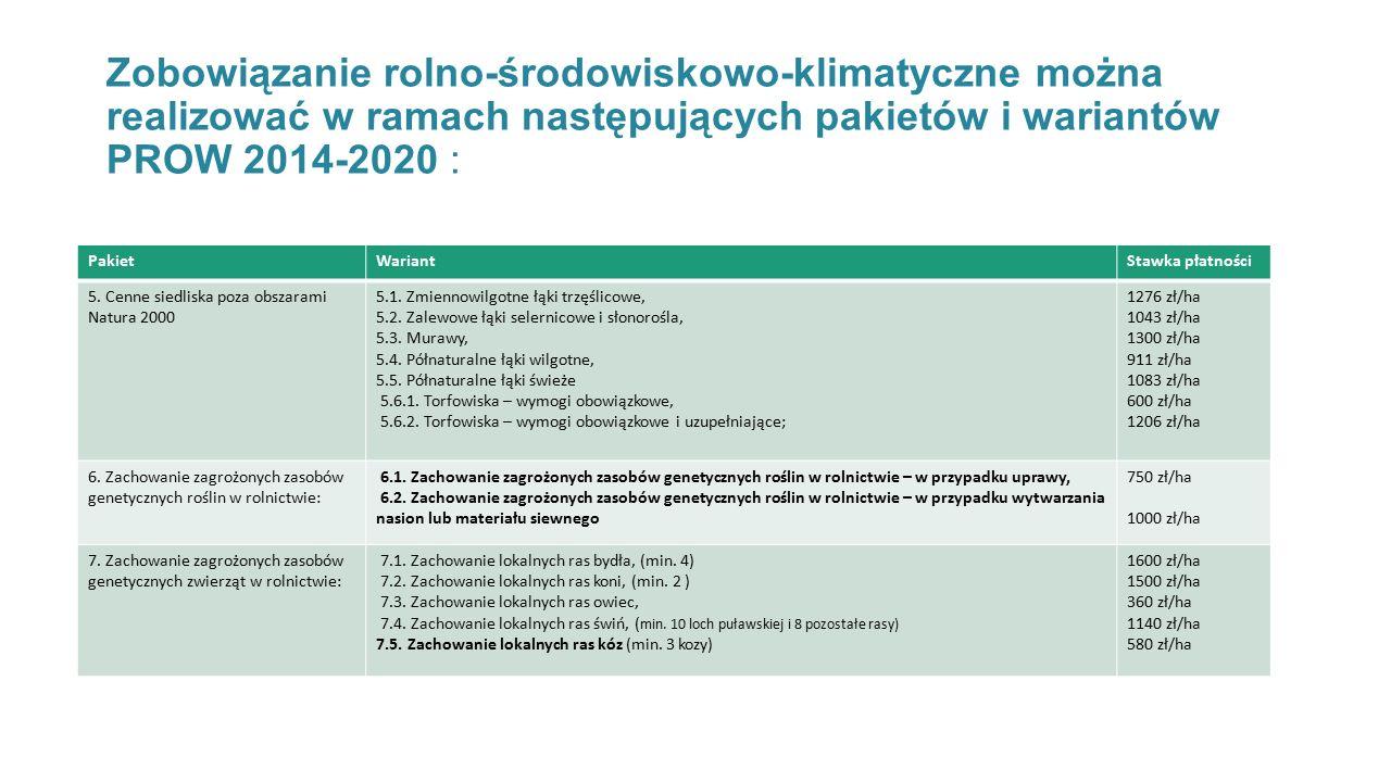 Zobowiązanie rolno-środowiskowo-klimatyczne można realizować w ramach następujących pakietów i wariantów PROW 2014-2020 : PakietWariantStawka płatności 5.