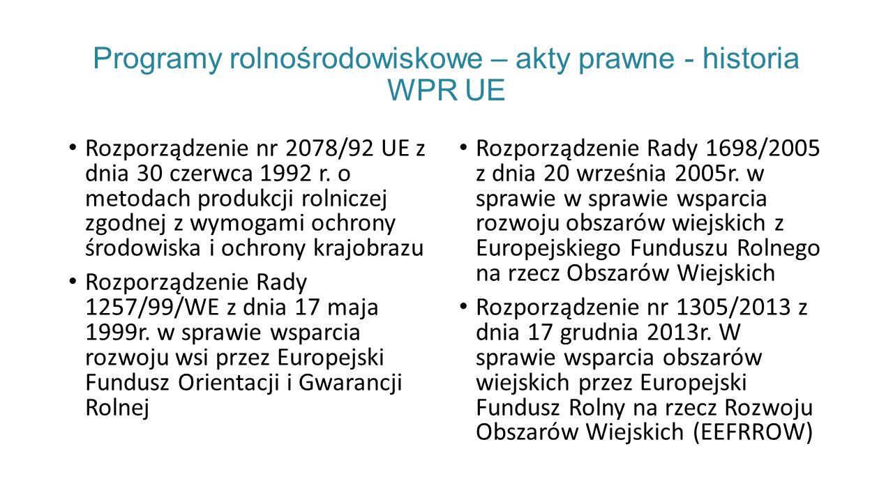 Programy rolnośrodowiskowe – akty prawne - historia WPR UE Rozporządzenie nr 2078/92 UE z dnia 30 czerwca 1992 r.