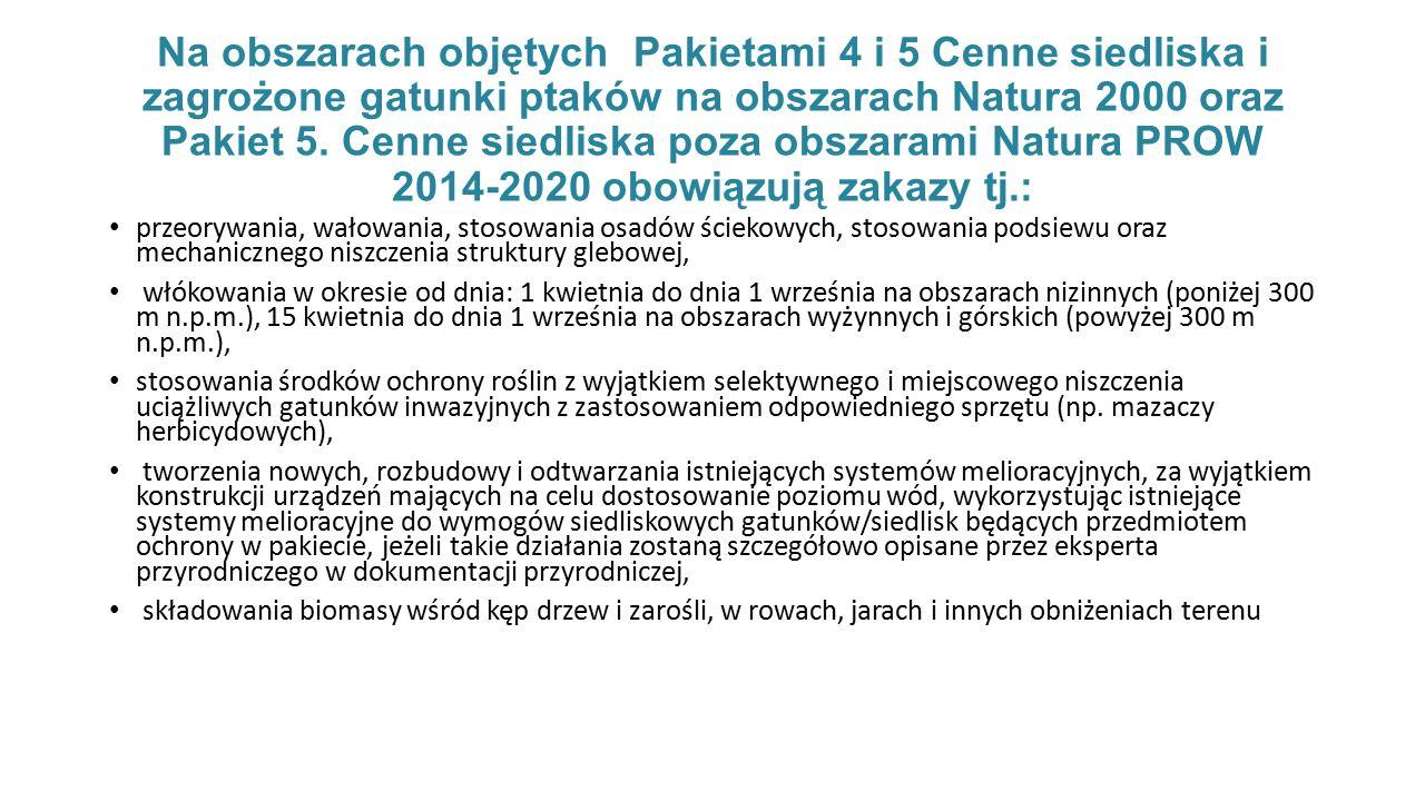 Na obszarach objętych Pakietami 4 i 5 Cenne siedliska i zagrożone gatunki ptaków na obszarach Natura 2000 oraz Pakiet 5.
