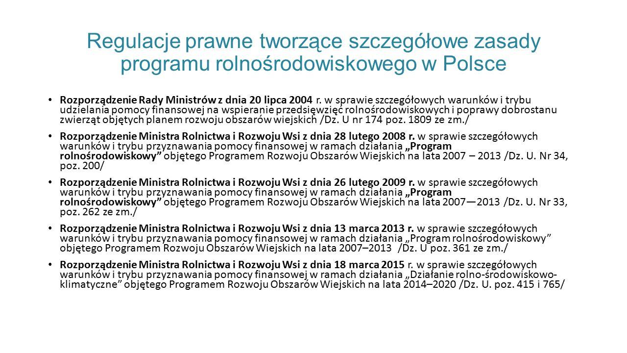Regulacje prawne tworzące szczegółowe zasady programu rolnośrodowiskowego w Polsce Rozporządzenie Rady Ministrów z dnia 20 lipca 2004 r.