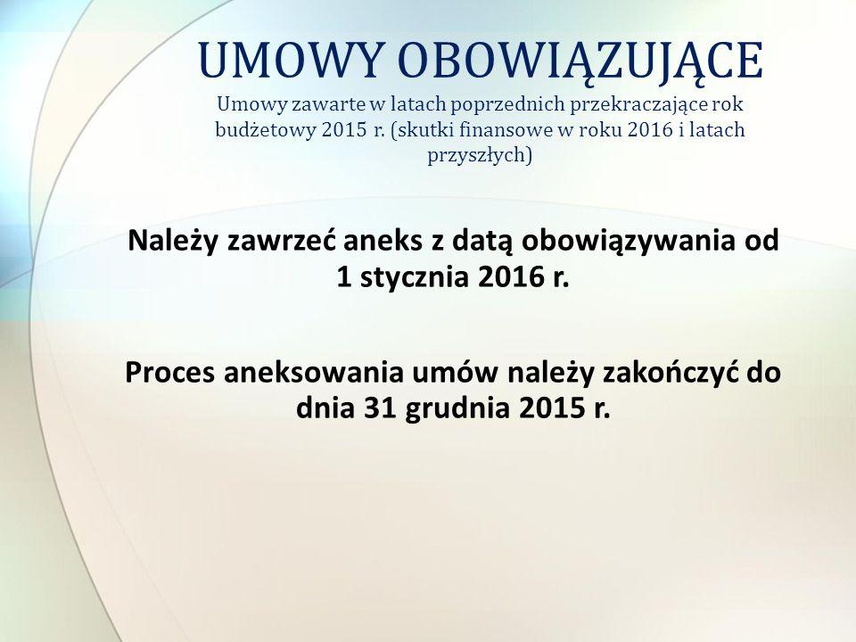Należy zawrzeć aneks z datą obowiązywania od 1 stycznia 2016 r. Proces aneksowania umów należy zakończyć do dnia 31 grudnia 2015 r. UMOWY OBOWIĄZUJĄCE