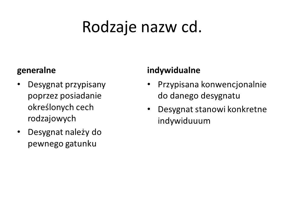 Rodzaje nazw cd.