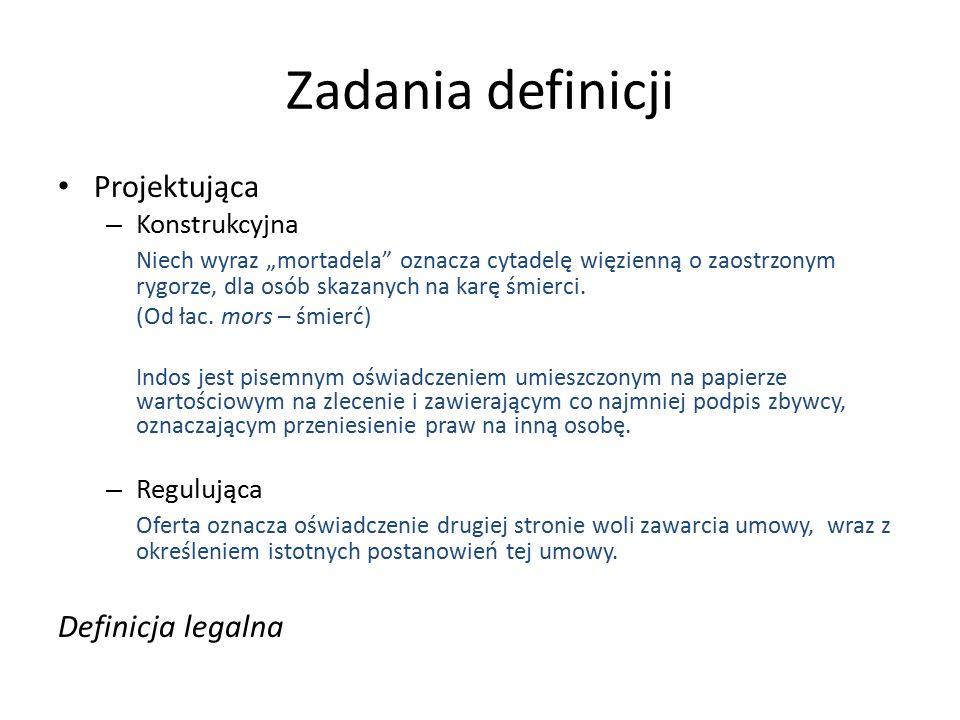 """Zadania definicji Projektująca – Konstrukcyjna Niech wyraz """"mortadela oznacza cytadelę więzienną o zaostrzonym rygorze, dla osób skazanych na karę śmierci."""