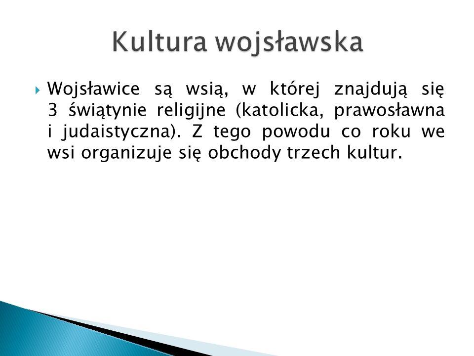  Wojsławice są wsią, w której znajdują się 3 świątynie religijne (katolicka, prawosławna i judaistyczna).