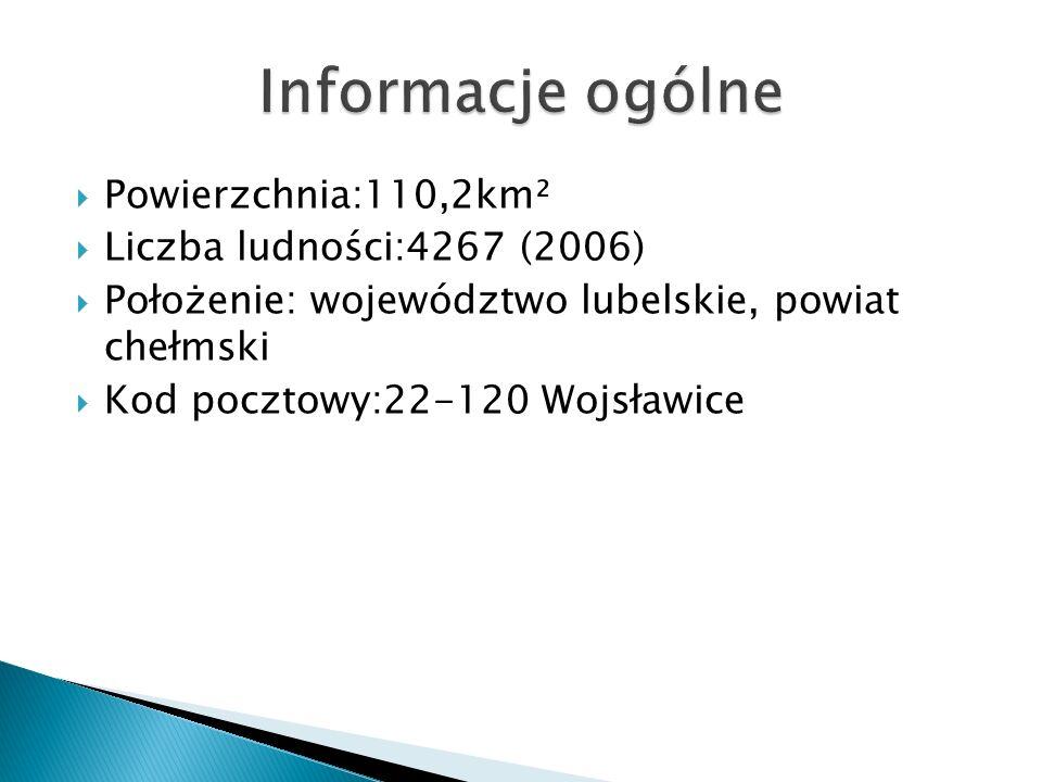  Powierzchnia:110,2km²  Liczba ludności:4267 (2006)  Położenie: województwo lubelskie, powiat chełmski  Kod pocztowy:22-120 Wojsławice
