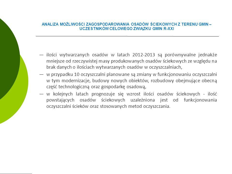 ―ilości wytwarzanych osadów w latach 2012-2013 są porównywalne jednakże mniejsze od rzeczywistej masy produkowanych osadów ściekowych ze względu na brak danych o ilościach wytwarzanych osadów w oczyszczalniach, ―w przypadku 10 oczyszczalni planowane są zmiany w funkcjonowaniu oczyszczalni w tym modernizacje, budowy nowych obiektów, rozbudowy obejmujące obecną część technologiczną oraz gospodarkę osadową, ―w kolejnych latach prognozuje się wzrost ilości osadów ściekowych - ilość powstających osadów ściekowych uzależniona jest od funkcjonowania oczyszczalni ścieków oraz stosowanych metod oczyszczania.