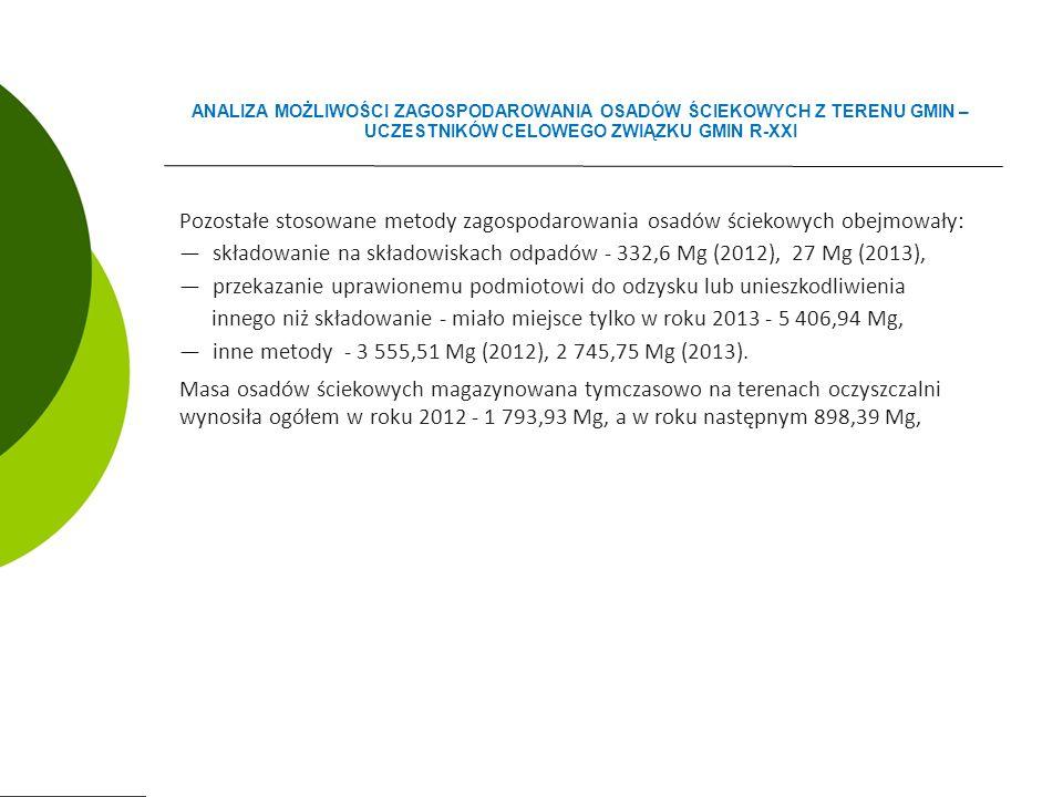 Pozostałe stosowane metody zagospodarowania osadów ściekowych obejmowały: ―składowanie na składowiskach odpadów - 332,6 Mg (2012), 27 Mg (2013), ―przekazanie uprawionemu podmiotowi do odzysku lub unieszkodliwienia innego niż składowanie - miało miejsce tylko w roku 2013 - 5 406,94 Mg, ―inne metody - 3 555,51 Mg (2012), 2 745,75 Mg (2013).