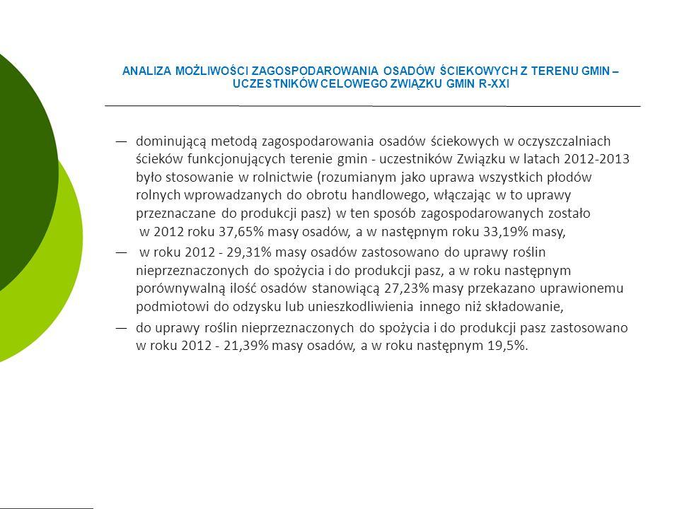 ―dominującą metodą zagospodarowania osadów ściekowych w oczyszczalniach ścieków funkcjonujących terenie gmin - uczestników Związku w latach 2012-2013 było stosowanie w rolnictwie (rozumianym jako uprawa wszystkich płodów rolnych wprowadzanych do obrotu handlowego, włączając w to uprawy przeznaczane do produkcji pasz) w ten sposób zagospodarowanych zostało w 2012 roku 37,65% masy osadów, a w następnym roku 33,19% masy, ― w roku 2012 - 29,31% masy osadów zastosowano do uprawy roślin nieprzeznaczonych do spożycia i do produkcji pasz, a w roku następnym porównywalną ilość osadów stanowiącą 27,23% masy przekazano uprawionemu podmiotowi do odzysku lub unieszkodliwienia innego niż składowanie, ―do uprawy roślin nieprzeznaczonych do spożycia i do produkcji pasz zastosowano w roku 2012 - 21,39% masy osadów, a w roku następnym 19,5%.