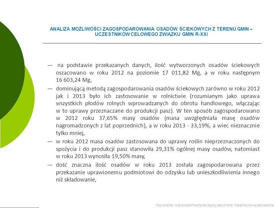 ― na podstawie przekazanych danych, ilość wytworzonych osadów ściekowych oszacowano w roku 2012 na poziomie 17 011,82 Mg, a w roku następnym 16 603,24 Mg, ―dominującą metodą zagospodarowania osadów ściekowych zarówno w roku 2012 jak i 2013 było ich zastosowanie w rolnictwie (rozumianym jako uprawa wszystkich płodów rolnych wprowadzanych do obrotu handlowego, włączając w to uprawy przeznaczane do produkcji pasz).