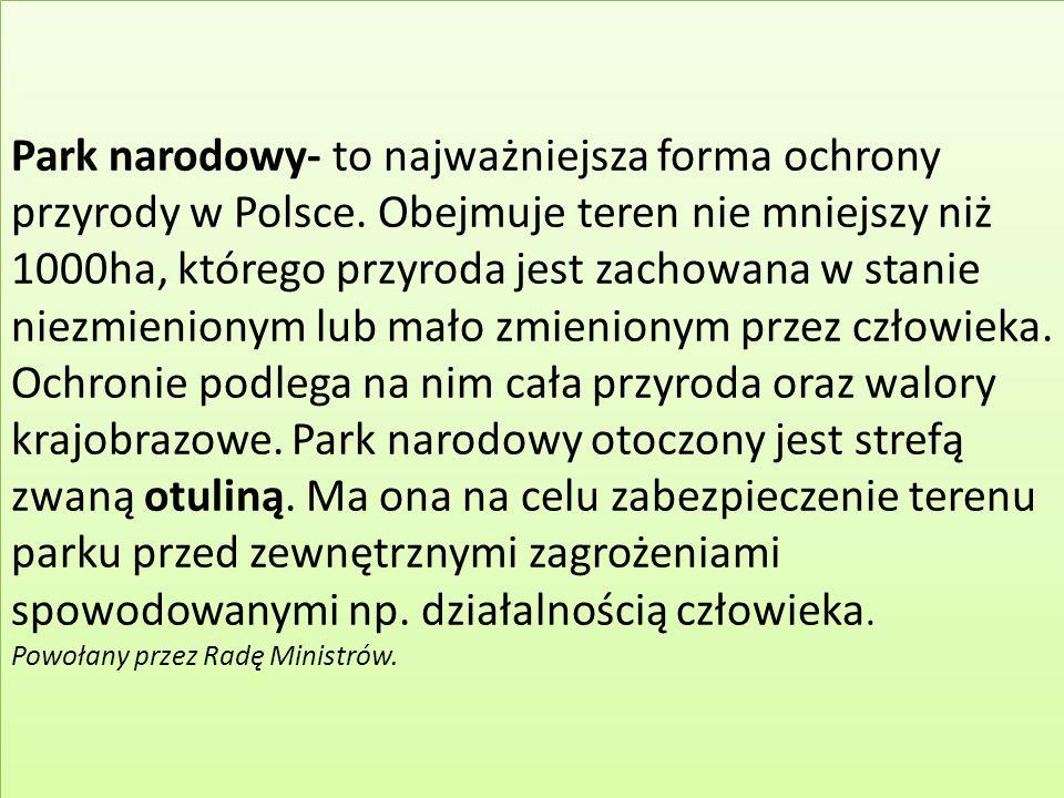 Park narodowy- to najważniejsza forma ochrony przyrody w Polsce.