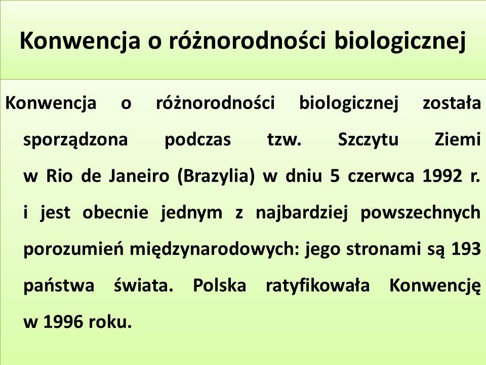 Konwencja o różnorodności biologicznej Konwencja o różnorodności biologicznej została sporządzona podczas tzw.