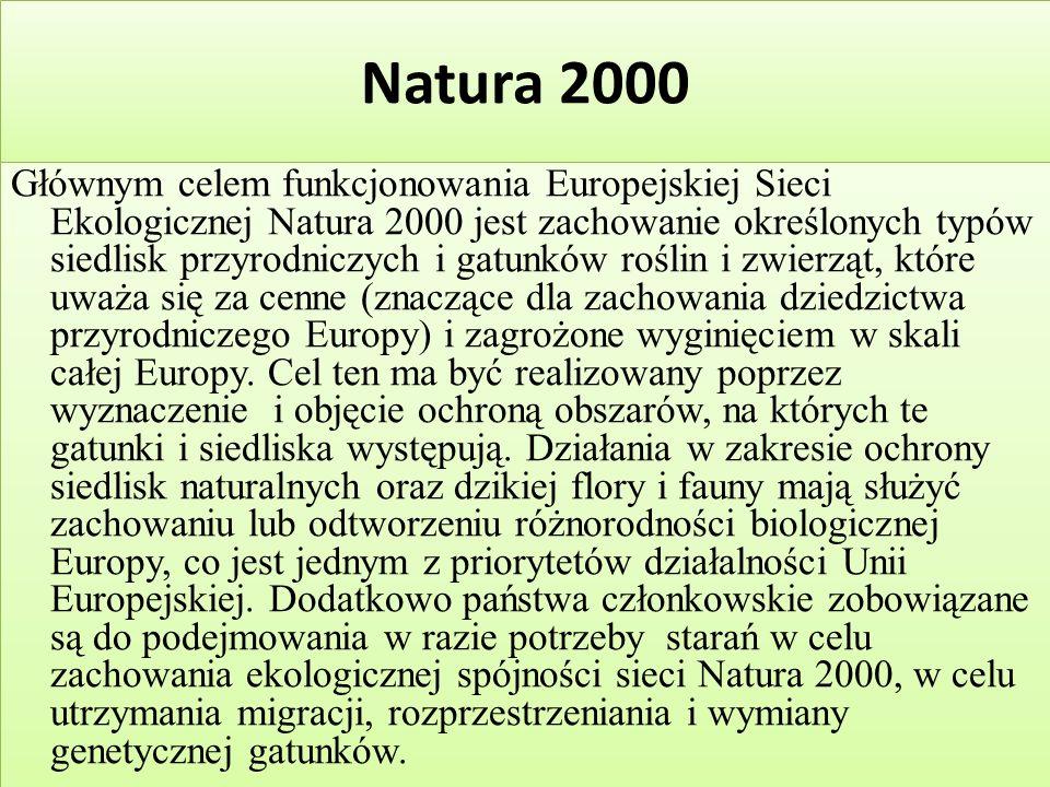 Natura 2000 Głównym celem funkcjonowania Europejskiej Sieci Ekologicznej Natura 2000 jest zachowanie określonych typów siedlisk przyrodniczych i gatunków roślin i zwierząt, które uważa się za cenne (znaczące dla zachowania dziedzictwa przyrodniczego Europy) i zagrożone wyginięciem w skali całej Europy.