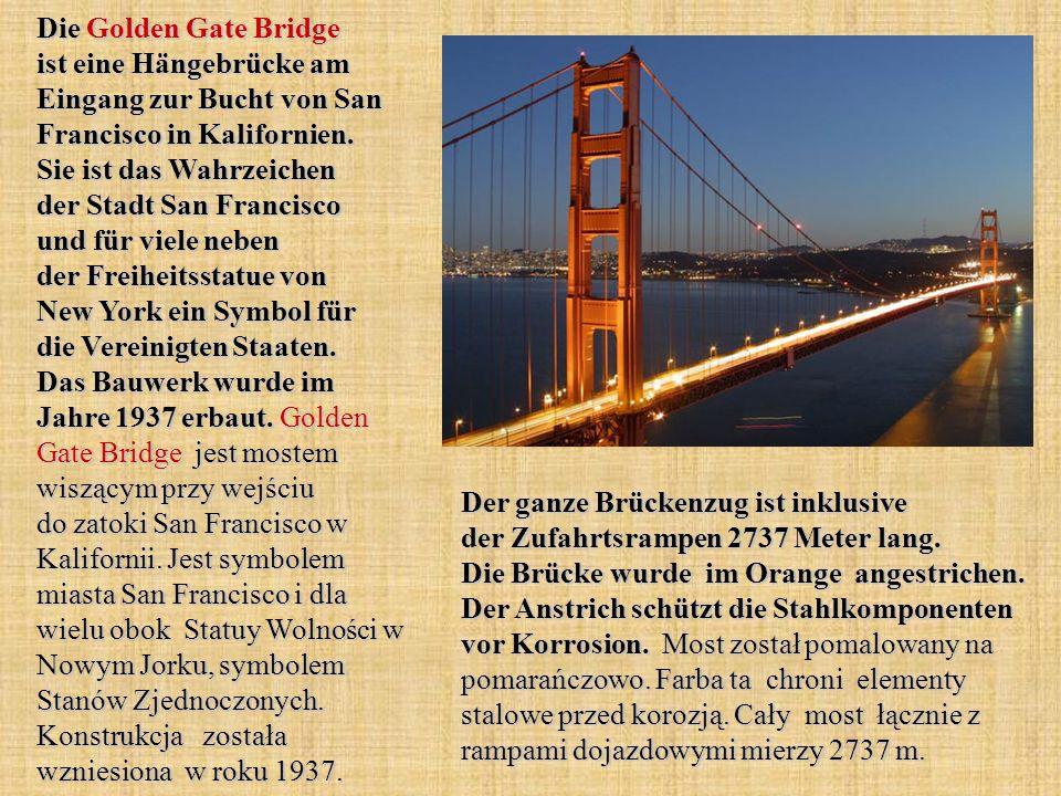 Die Golden Gate Bridge ist eine Hängebrücke am Eingang zur Bucht von San Francisco in Kalifornien.
