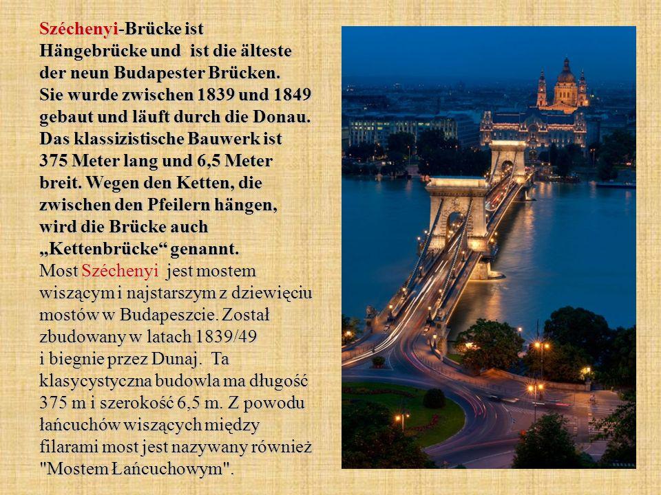 Széchenyi-Brücke ist Hängebrücke und ist die älteste der neun Budapester Brücken.