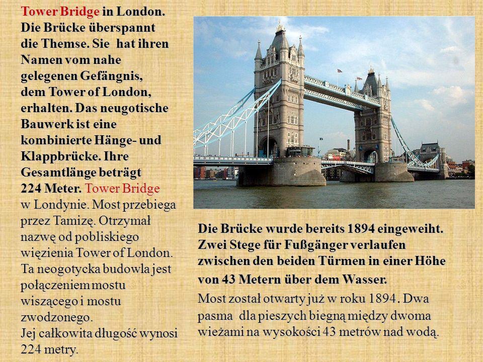 Tower Bridge in London. Die Brücke überspannt die Themse.