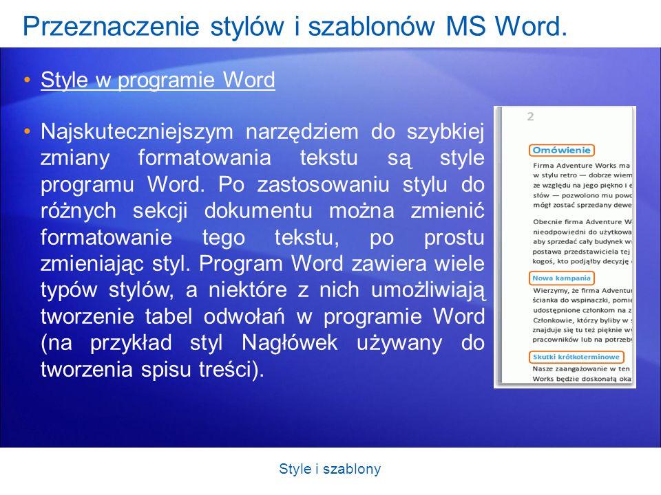 Przeznaczenie stylów i szablonów MS Word. Style w programie Word Najskuteczniejszym narzędziem do szybkiej zmiany formatowania tekstu są style program