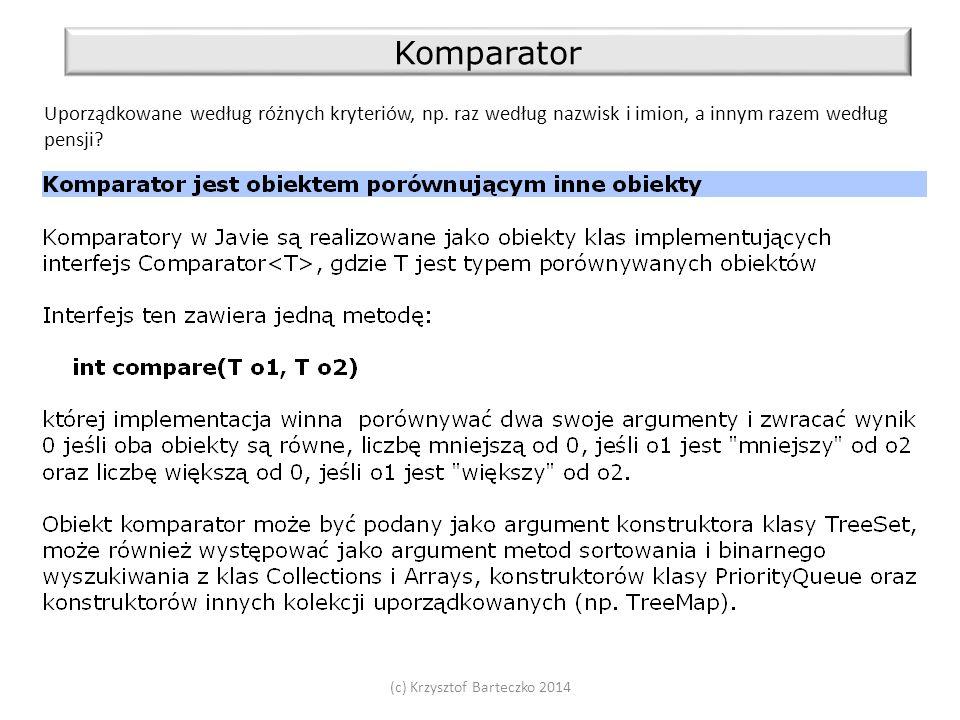 (c) Krzysztof Barteczko 2014 Komparator Uporządkowane według różnych kryteriów, np.