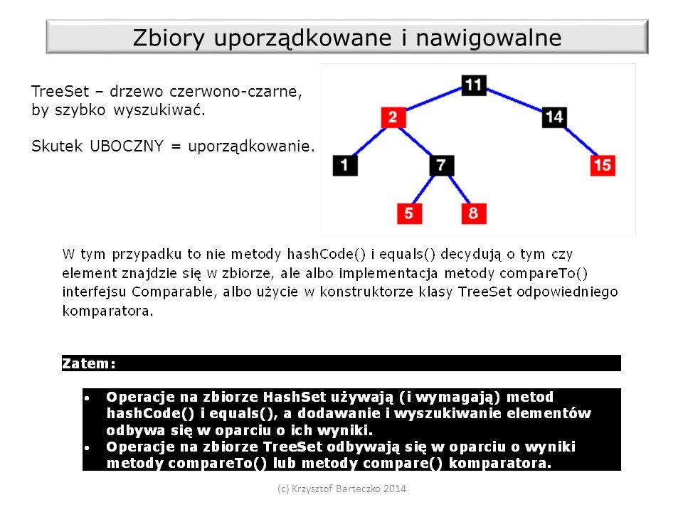 (c) Krzysztof Barteczko 2014 Zbiory uporządkowane i nawigowalne TreeSet – drzewo czerwono-czarne, by szybko wyszukiwać.