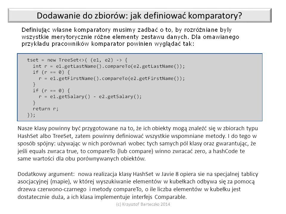 (c) Krzysztof Barteczko 2014 Dodawanie do zbiorów: jak definiować komparatory.