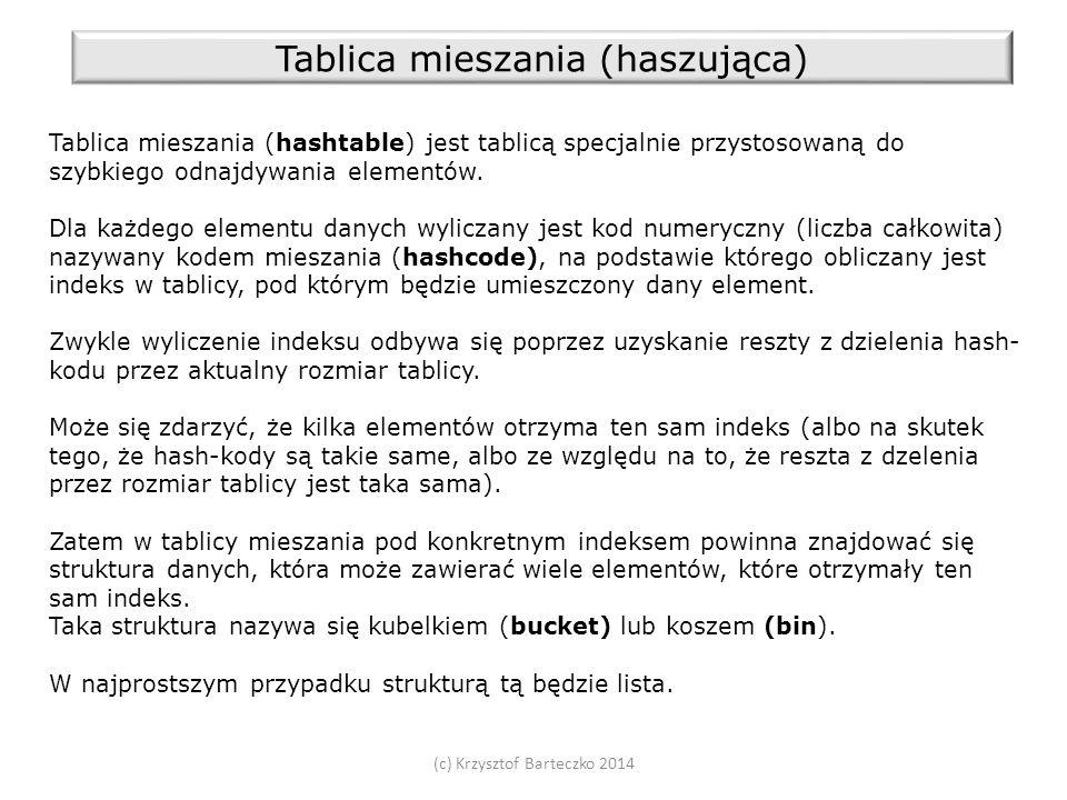 (c) Krzysztof Barteczko 2014 Tablica mieszania (haszująca) Tablica mieszania (hashtable) jest tablicą specjalnie przystosowaną do szybkiego odnajdywania elementów.