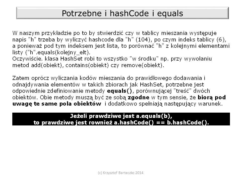 (c) Krzysztof Barteczko 2014 Potrzebne i hashCode i equals