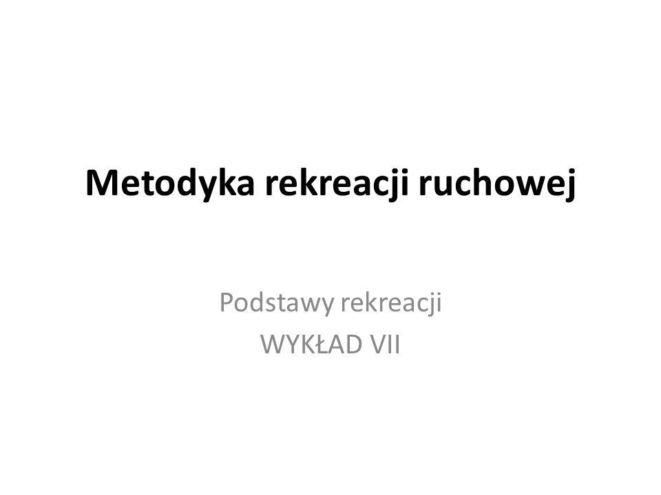 Metodyka rekreacji ruchowej Podstawy rekreacji WYKŁAD VII