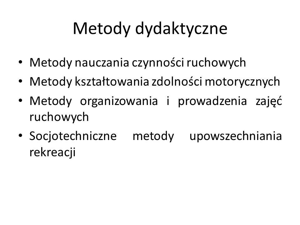 Metody dydaktyczne Metody nauczania czynności ruchowych Metody kształtowania zdolności motorycznych Metody organizowania i prowadzenia zajęć ruchowych