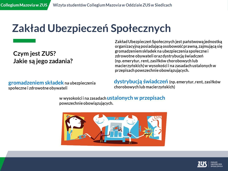 Zakład Ubezpieczeń Społecznych Collegium Mazovia w ZUSWizyta studentów Collegium Mazovia w Oddziale ZUS w Siedlcach Czym jest ZUS.