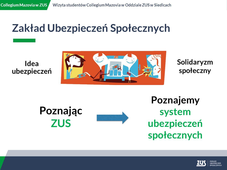 Zakład Ubezpieczeń Społecznych Collegium Mazovia w ZUSWizyta studentów Collegium Mazovia w Oddziale ZUS w Siedlcach Solidaryzm społeczny Idea ubezpieczeń Poznajemy system ubezpieczeń społecznych Poznając ZUS