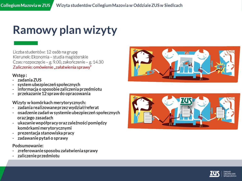 Ramowy plan wizyty Liczba studentów: 12 osób na grupę Kierunek: Ekonomia – studia magisterskie Czas: rozpoczęcie – g.