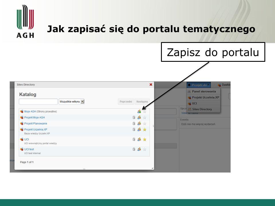 Jak zapisać się do portalu tematycznego Zapisz do portalu