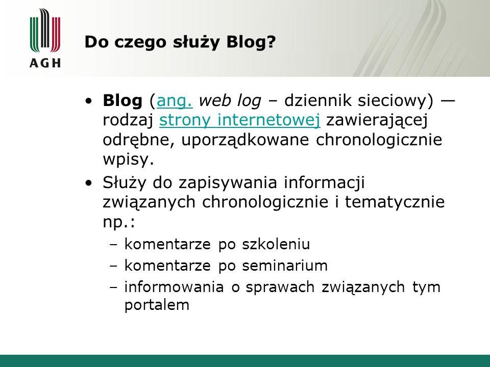 Do czego służy Blog? Blog (ang. web log – dziennik sieciowy) — rodzaj strony internetowej zawierającej odrębne, uporządkowane chronologicznie wpisy.an