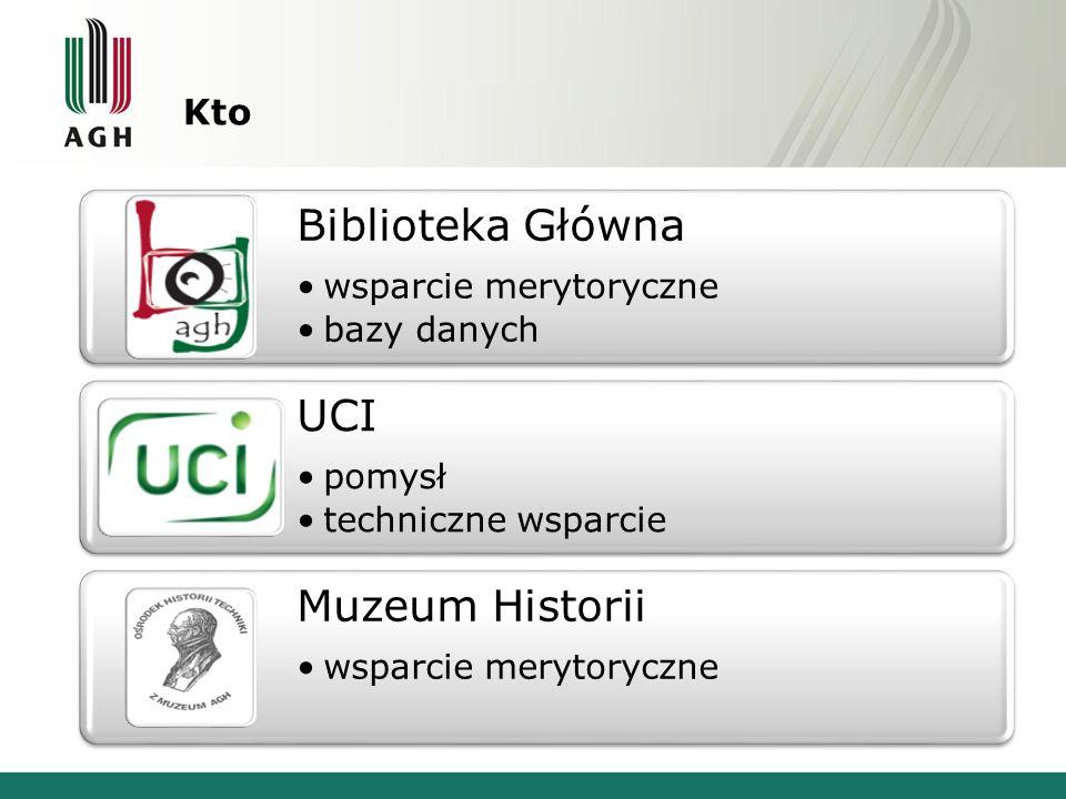 Kto Biblioteka Główna wsparcie merytoryczne bazy danych UCI pomysł techniczne wsparcie Muzeum Historii wsparcie merytoryczne