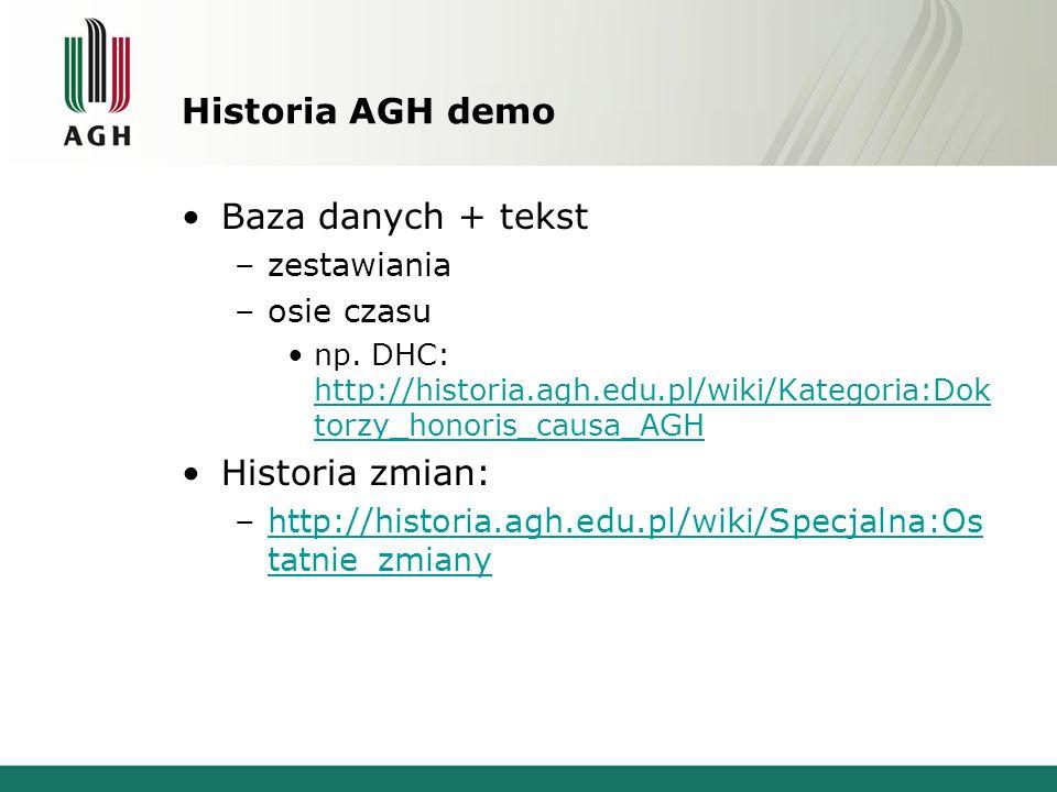 Historia AGH demo Baza danych + tekst –zestawiania –osie czasu np. DHC: http://historia.agh.edu.pl/wiki/Kategoria:Dok torzy_honoris_causa_AGH http://h