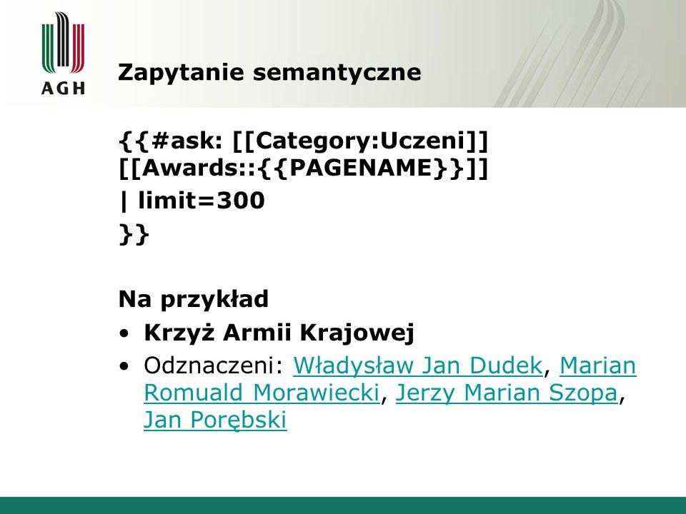 Zapytanie semantyczne {{#ask: [[Category:Uczeni]] [[Awards::{{PAGENAME}}]] | limit=300 }} Na przykład Krzyż Armii Krajowej Odznaczeni: Władysław Jan D