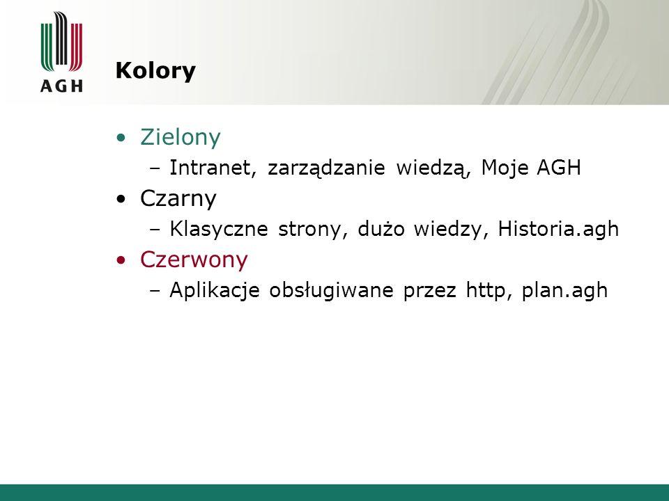 Kolory Zielony –Intranet, zarządzanie wiedzą, Moje AGH Czarny –Klasyczne strony, dużo wiedzy, Historia.agh Czerwony –Aplikacje obsługiwane przez http, plan.agh