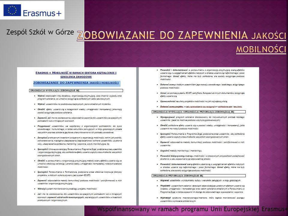 Współfinansowany w ramach programu Unii Europejskiej Erasmus+ Zespół Szkół w Górze