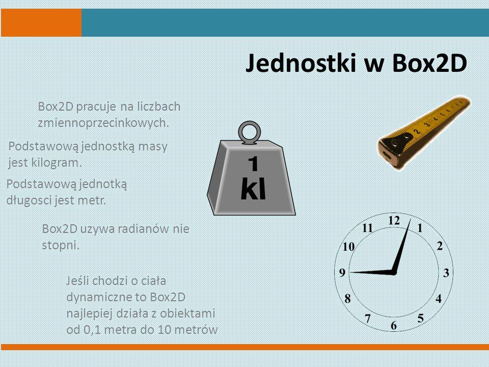 Jednostki w Box2D Box2D pracuje na liczbach zmiennoprzecinkowych.