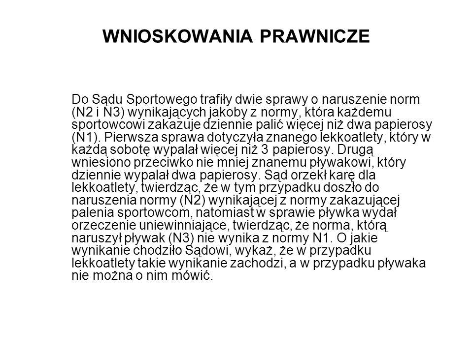 WNIOSKOWANIA PRAWNICZE Do Sądu Sportowego trafiły dwie sprawy o naruszenie norm (N2 i N3) wynikających jakoby z normy, która każdemu sportowcowi zakaz