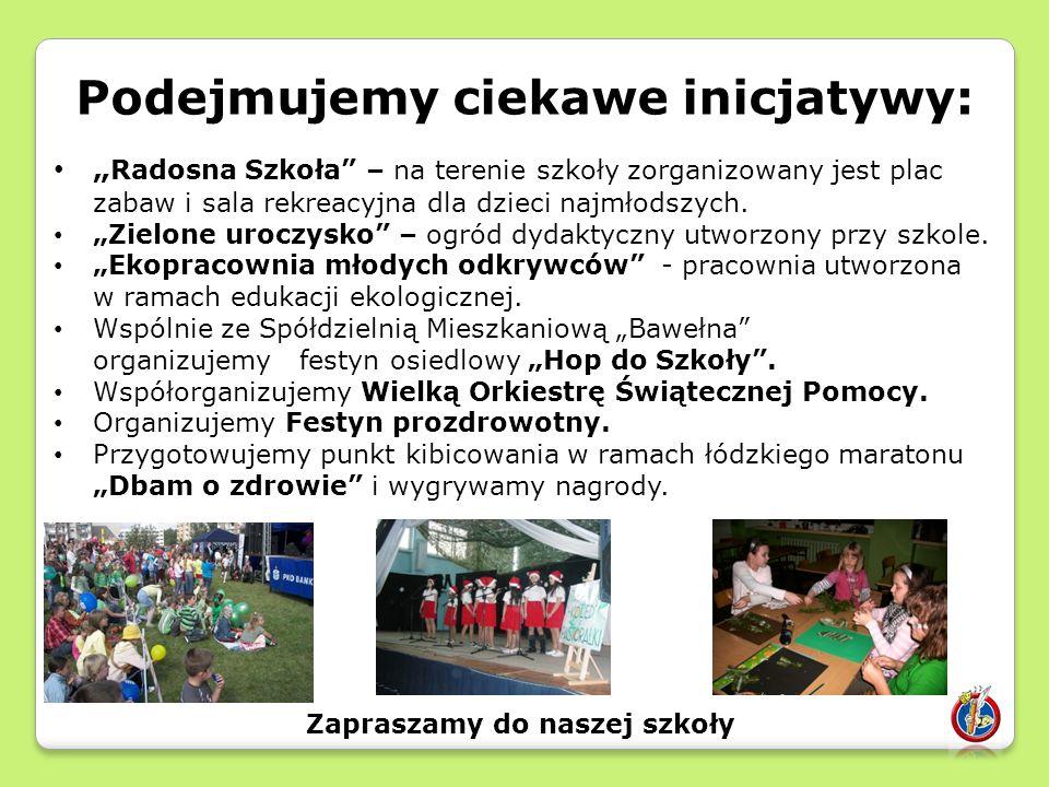 """Podejmujemy ciekawe inicjatywy: """" Radosna Szkoła – na terenie szkoły zorganizowany jest plac zabaw i sala rekreacyjna dla dzieci najmłodszych."""