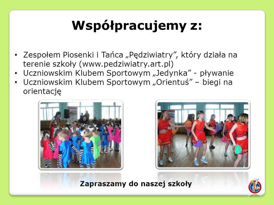 """Współpracujemy z: Zespołem Piosenki i Tańca """"Pędziwiatry , który działa na terenie szkoły (www.pedziwiatry.art.pl) Uczniowskim Klubem Sportowym """"Jedynka - pływanie Uczniowskim Klubem Sportowym """"Orientuś – biegi na orientację Zapraszamy do naszej szkoły"""