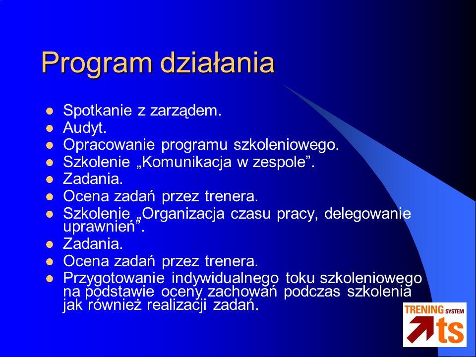 Program działania Spotkanie z zarządem. Audyt. Opracowanie programu szkoleniowego.