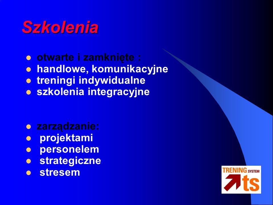 Szkolenia otwarte i zamknięte : handlowe, komunikacyjne treningi indywidualne szkolenia integracyjne zarządzanie: projektami personelem strategiczne stresem