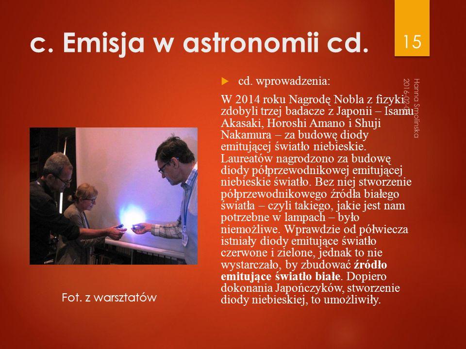 c. Emisja w astronomii cd.  cd.