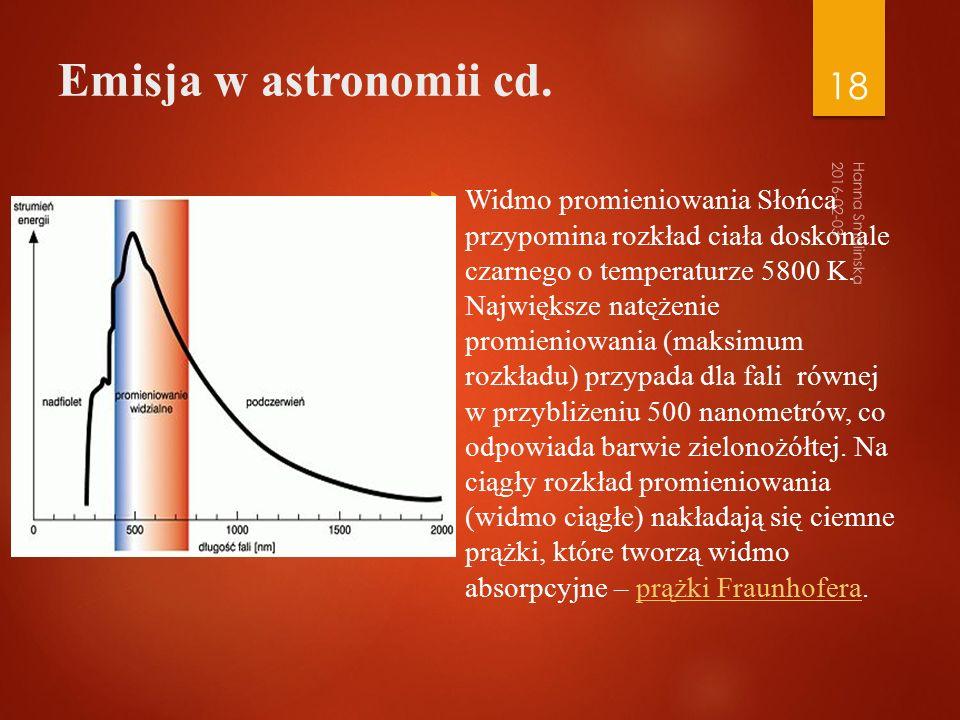 Emisja w astronomii cd.
