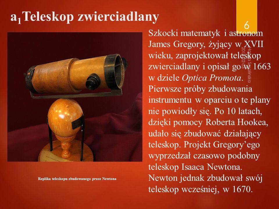 Replika teleskopu zbudowanego przez Newtona 2016-02-03 Hanna Smolinska 6 Szkocki matematyk i astronom James Gregory, żyjący w XVII wieku, zaprojektował teleskop zwierciadlany i opisał go w 1663 w dziele Optica Promota.