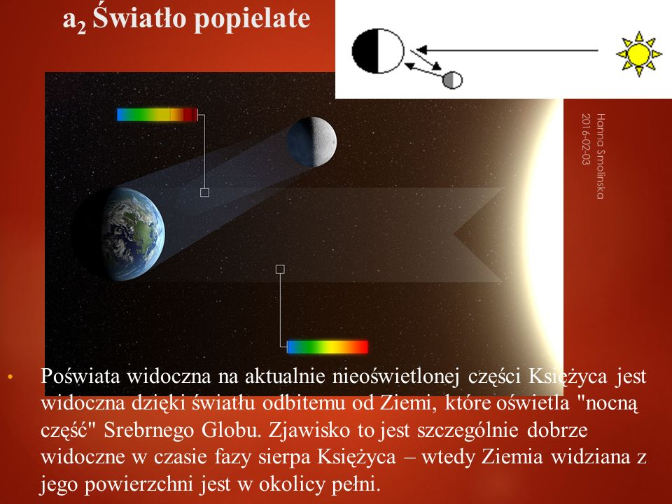 Poświata widoczna na aktualnie nieoświetlonej części Księżyca jest widoczna dzięki światłu odbitemu od Ziemi, które oświetla nocną część Srebrnego Globu.